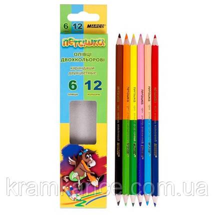 Карандаши цветные MARCO Superb Writer 1011-6СВ 6шт 12цв двусторонние, фото 2