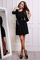 Милое платье с набивным бархатом на шифоне