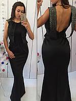 Шикарное черное платье в пол с камнями. Арт-9545/78