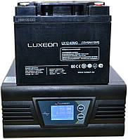 Комплект резервного питания ИБП Luxeon UPS-500ZD + АКБ Luxeon LX12-40MG для 3-4ч работы газового котла, фото 1