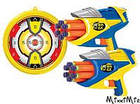 Помповое оружие Twin Tex 6X, 2 бластера, мишень, BuzzBeeToys, Желтый