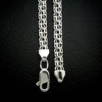 Срібна чоловіча ланцюжок, 600мм, 79 грам, плетіння Бісмарк, фото 3