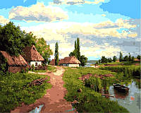"Картины по номерам 40 × 50 см. ""На краю села"" худ. Андрей Огурцов"