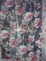 Тюль органза с красивым рисунком  красная  роза,  высота  2.8 м