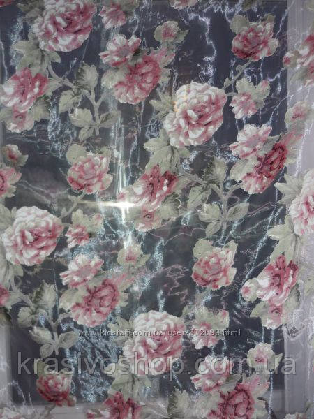 Тюль органза с красивым рисунком  красная  роза,  высота  2.8 м - КРАСОТА И УЮТ в Одессе