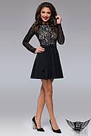Платье верх гипюр, юбка клеш с рукавами  черное