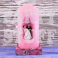 Свадебные свечи семейный очаг розовый, 18 х 7 см