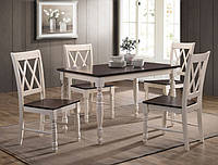 Стол деревянный обеденный Дженни 1200*750*750 (ваниль-вишня антик)