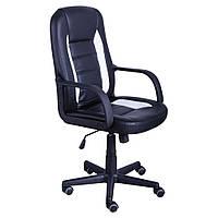Кресло офисное Дрифт, к/з PU черный/белые вставки