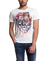 Мужская футболка LC Waikiki белого цвета с разноцветным тигром, фото 1