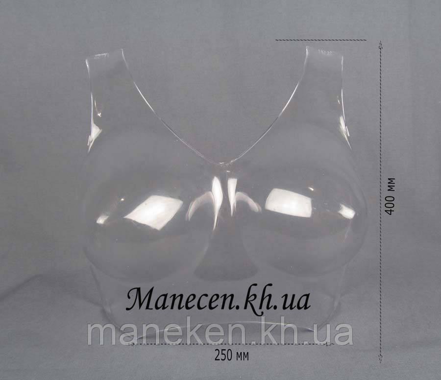 Манекен полуобъемный женский р42-44 бюст с лямкой прозрачный для полок