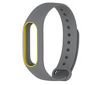 Силиконовый ремешок для фитнес-браслета Xiaomi Mi Band 2 - Grey-Yellow