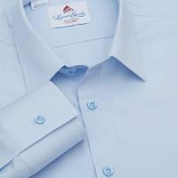 Голубая однотонная мужская рубашка Leonardo Savelli