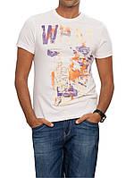 Мужская футболка LC Waikiki белого цвета с разноцветным рисунком