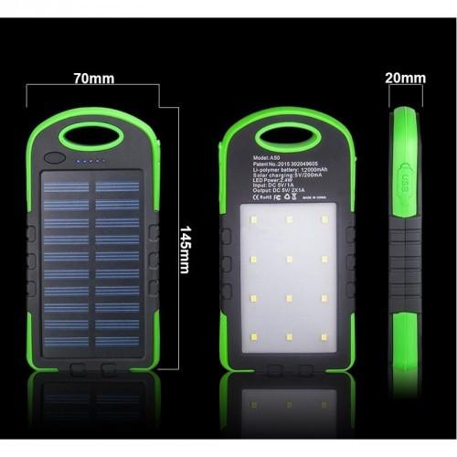 Зовнішній акумулятор на сонячній батареї Solar Power Bank 10800 mAh + 12 LED
