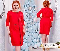 Женское платье делового стиля с декором батал
