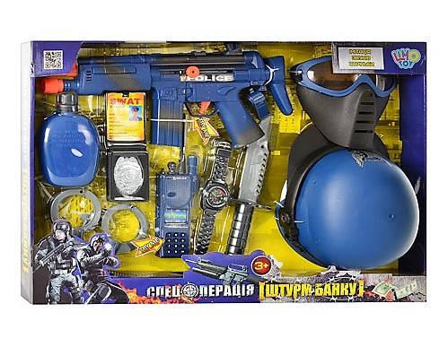 Набор полиции 33550, все для полицейского, автомат, фляга, часы, нож и другое, имитация стрельбы, на батарейке, фото 2