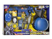 Набор полиции 33550, все для полицейского, автомат, фляга, часы, нож и другое, имитация стрельбы, на батарейке