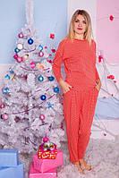 Пижама оранжевые горошки карманы M
