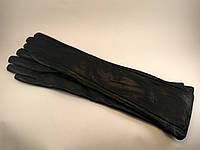 Перчатки женские длинные из натуральной кожи на плюше 40см