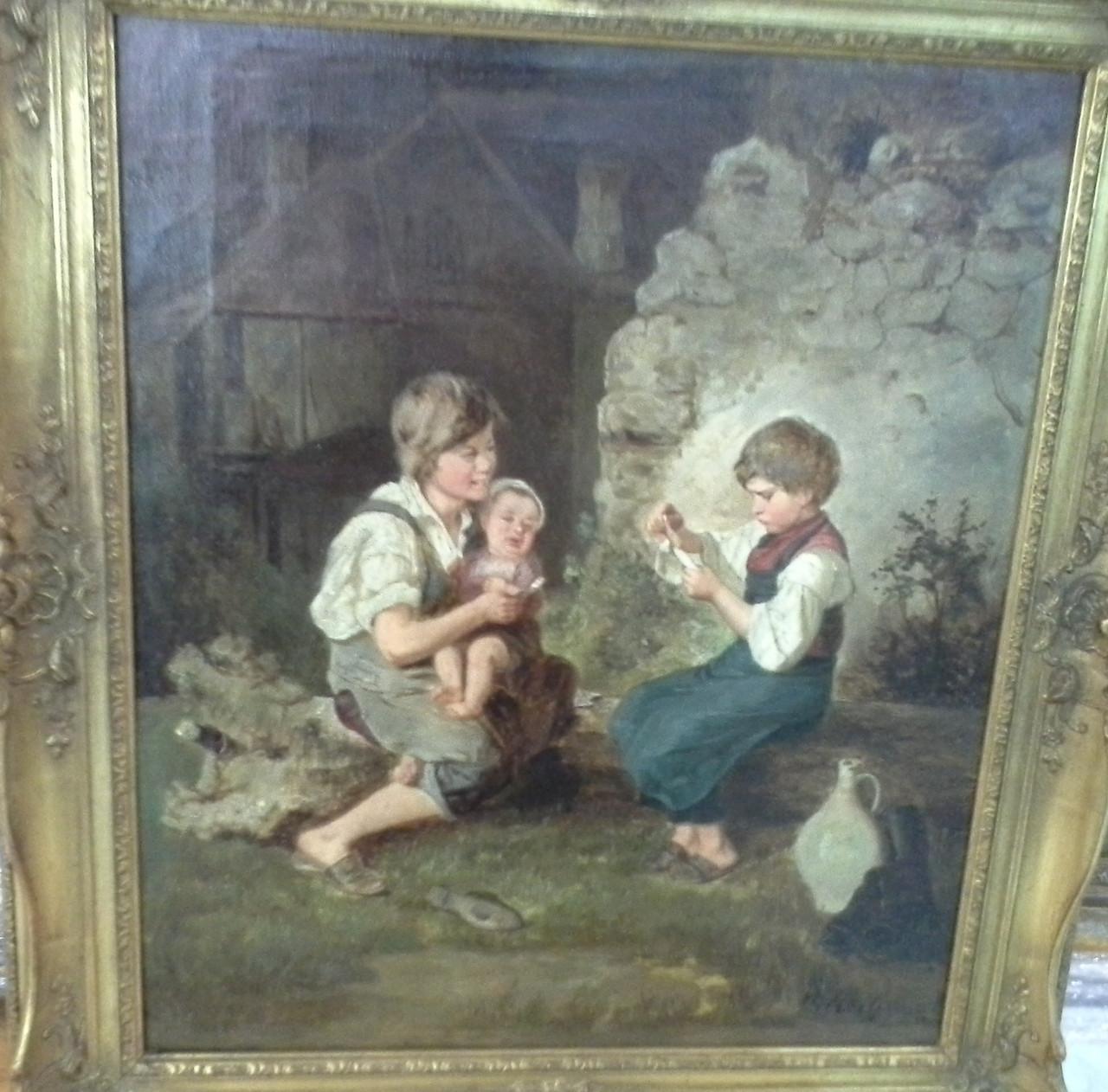 Картина Дети  19 век HECK Robert
