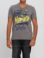 Мужская футболка LC Waikiki серого цвета с надписью Hip Hop