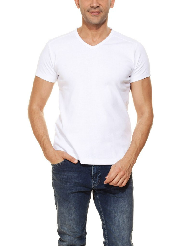 Мужская футболка LC Waikiki белого цвета с V-образной горловиной
