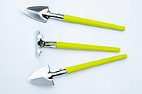 Комплект з двох лопаток та однієї грабельки (для кімнатних рослин), металеві з пластмасовими ручками
