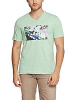 Мужская футболка LC Waikiki светло-зеленого цвета с надписью Long beach