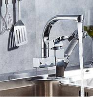 Смеситель кран однорычажный с лейкой на кухню для мойки раковины, фото 1