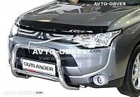 Дефлектор на капот (мухобойка) для Mitsubishi Outlander 2013-2015 с подгибом