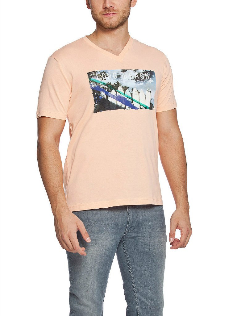 Мужская футболка LC Waikiki розового цвета с надписью Long beach