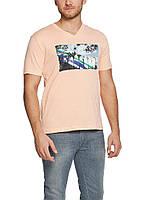Мужская футболка LC Waikiki розового цвета с надписью Long beach, фото 1