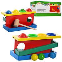 Деревянная игрушка Стучалка MD 0026 (90шт) молоточек,шарики 4шт, в кор-ке, 20,5-9-10,5см