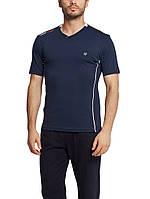 Мужская футболка LC Waikiki темно-синего цвета с белой окантовкой