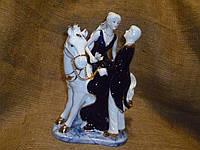 "Фарфоровая декоративная статуэтка влюбленная пара на лошади ""Свидание"" 28х20х14 сантиметров"