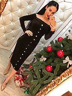 Женское стильное бархатное платье с пуговицами (2 цвета)