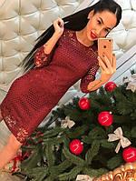 Женское платье кружевное бордового цвета
