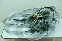 Украшения на Новый Год оптом. Черно- белая вуаль с щипчиком. 39
