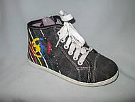 Кеды оптом детские высокие, 31-36 размеры, джинс с разноцветными полосками на пятке, темно-серые