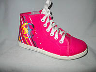Кеды оптом детские высокие, 31-36 размеры, джинс с разноцветными полосками на пятке, розовые