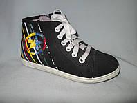 Кеды оптом детские высокие, 31-36 размеры, джинс с разноцветными полосками на пятке, черные