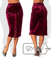 Прямая юбка-карандаш из бархата. Разные цвета.