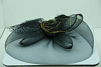 Черная роза с золотым ободком. Вуаль с щипчиком оптом. 41