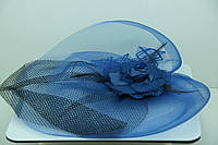 Синяя вуаль с прищепкой для праздничного вечера. 42