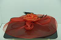 Украшения на голову RRR. Алая роза - вуаль на щипчике. 43