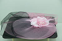 RRR Нежная розовая роза - вуаль на щипчике. 44