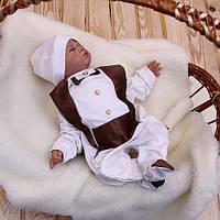 """Детский комплект """"Фрак"""" для новорожденного мальчика (шоколад)"""