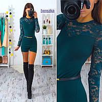 Женский модный комбинезон-шортами с гипюром (4 цвета)