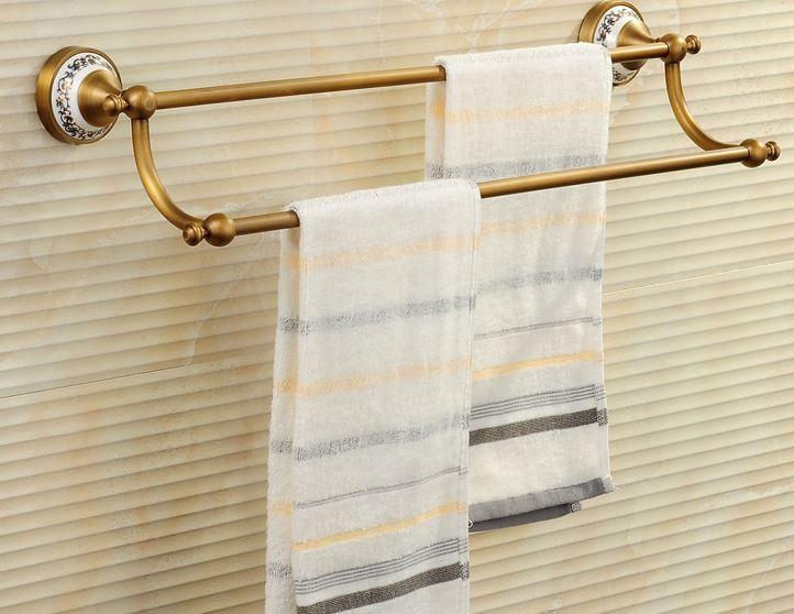 Вешалка для полотенец бронза двухуровневая для ванной или на кухню